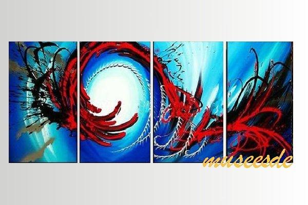 【ミュゼ・デユ】【手書き】【油絵画】モダン インテリア 壁掛け 絵画 自然画 抽象画 凹凸 グラデーション モノトーン クラシック ヴィンテージ風 レトロ シック『パネルアート』4パネルSET 和風 ヨーロッパ風 風水 金運 曲線 円形 赤 レッド P4M062