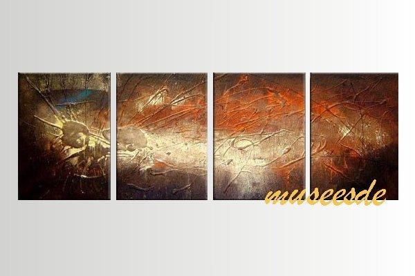 【ミュゼ・デユ】【手書き】【油絵画】モダン インテリア 壁掛け 絵画 自然画 抽象画 凹凸 グラデーション モノトーン クラシック ヴィンテージ風 レトロ シック『パネルアート』4パネルSET 和風 ヨーロッパ風 風水 金運 曲線 円形 こげ茶 ブラウン P4M066