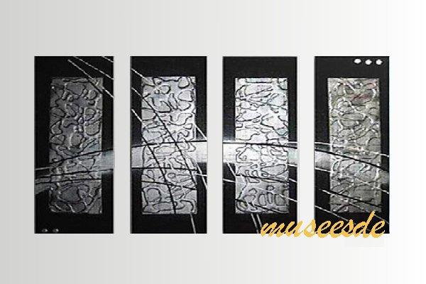 【ミュゼ・デユ】【手書き】【油絵画】モダン インテリア 壁掛け 絵画 自然画 抽象画 凹凸 グラデーション モノトーン クラシック ヴィンテージ風 レトロ シック『パネルアート』4パネルSET 和風 ヨーロッパ風 風水 金運 曲線 円形 シルバー P4M065