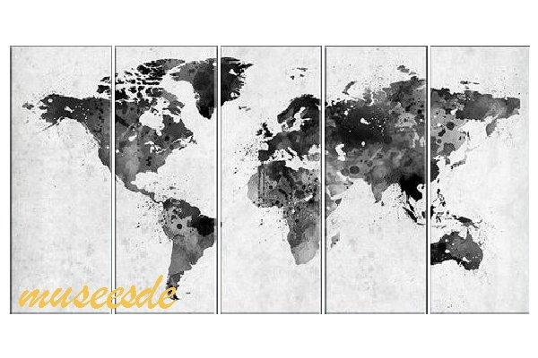 ミュゼ・デユ 手書き 油絵画モダン 壁掛け インテリア アート グラデーション モノトーン ビビット 抽象画 凹凸 和風 ヨーロッパ風『パネルアート』5パネルSET 世界地図 P5M042