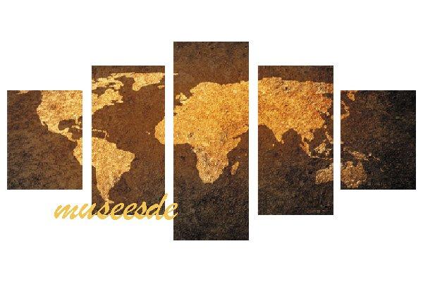 ミュゼ・デユ 手書き 油絵画モダン 壁掛け インテリア アート グラデーション モノトーン ビビット 抽象画 凹凸 和風 ヨーロッパ風『パネルアート』5パネルSET 世界地図 P5M003