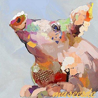 ミュゼ・デユ オイルペイントモダン ファブリックパネルアート ペット絵画 動物 油彩絵 壁掛け 手書き アートパネル 犬 猫 鳥 魚 鹿 猿 熊 蛙 虫 馬 象『カラフル ブタ』フレームなし ADD005