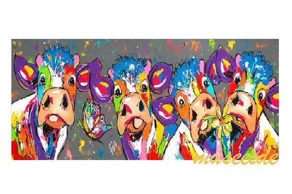 ミュゼ・デユ オイルペイントモダン ファブリック パネルアート ペット 絵画 動物 油彩絵 壁掛け 手書き アートパネル 犬 猫 鳥 魚 鹿 猿 熊 蛙 虫 馬 象『牛の仲間』フレームなし ADD098