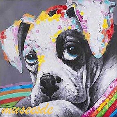 ミュゼ・デユ オイルペイントモダン ファブリックパネルアート ペット 絵画 動物 油彩絵 壁掛け 手書きアートパネル 犬 猫 鳥 魚 鹿 猿 熊 蛙 虫 馬 象 ゴリラ チンパンジー『ブルドッグ』フレームなし ADD108