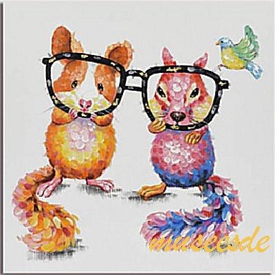 ミュゼ・デユ オイルペイントモダン ファブリックパネルアート ペット 絵画 動物 油彩絵 壁掛け 手書きアートパネル 犬 猫 鳥 魚 鹿 猿 熊 牛 豚 ウサギ 兎 蛙 虫 馬 象 馬 ゴリラ チンパンジー『可愛い リスとメガネ』フレームなし ADD140