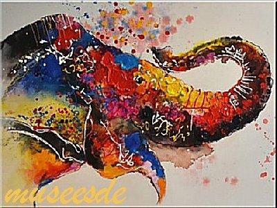 ミュゼ・デユ オイルペイントモダン ファブリックパネルアート ペット 絵画 動物 油彩絵 壁掛け 手書きアートパネル 犬 猫 鳥 魚 鹿 猿 熊 牛 豚 ウサギ 兎 蛙 虫 馬 象 馬 ゴリラ チンパンジー『カラフル ゾウさん』フレームなし ADD208