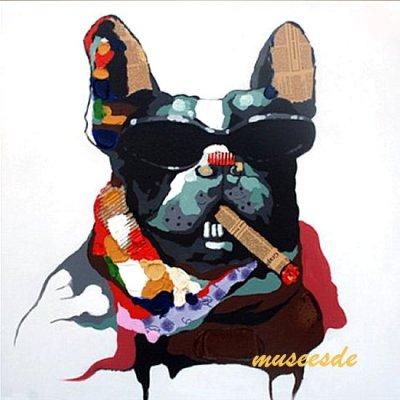 ミュゼ・デユ オイルペイントモダン ファブリックパネルアートペット絵画 動物油彩絵 壁掛け 手書きパネルアート フレームアート犬 猫 鳥 魚 鹿 猿 熊 蛙 虫 馬フレンチ・ブルドッグ ADD008