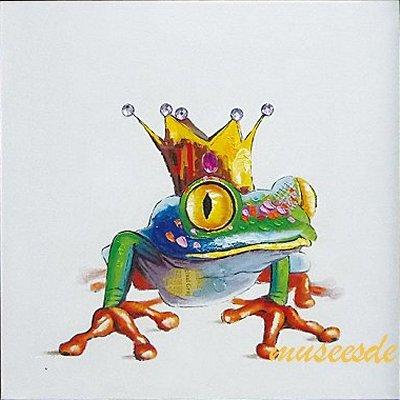 ミュゼ・デユ オイルペイントモダン ファブリックパネルアート ペット 絵画 動物 油彩絵 壁掛け 手書き アートパネル 犬 猫 鳥 魚 鹿 猿 熊 蛙 虫 馬 象 『カエルの王子様』フレームなし ADD090