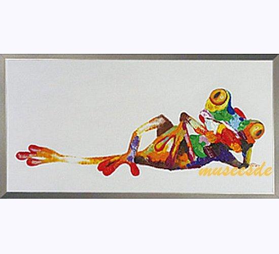 ミュゼ・デユ オイルペイントモダン ファブリック パネルアート ペット 絵画 動物 油彩絵 壁掛け 手書き アートパネル 犬 猫 鳥 魚 鹿 猿 熊 蛙 虫 馬 象 『カラフル カエルさん』フレームなし ADD096