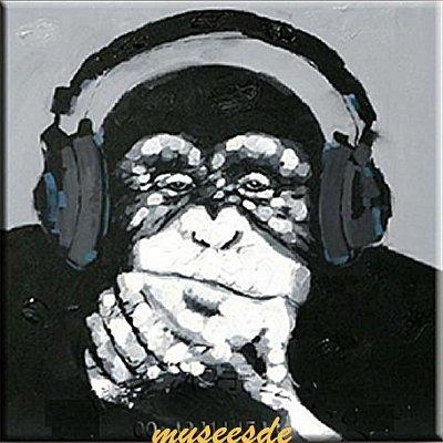 ミュゼ・デユ オイルペイントモダン ファブリックパネルアート ペット絵画 動物 油彩絵 壁掛け 手書き アートパネル 犬 猫 鳥 魚 鹿 猿 熊 蛙 虫 馬 象 『音楽好きなゴリラ』フレームなし ADD117