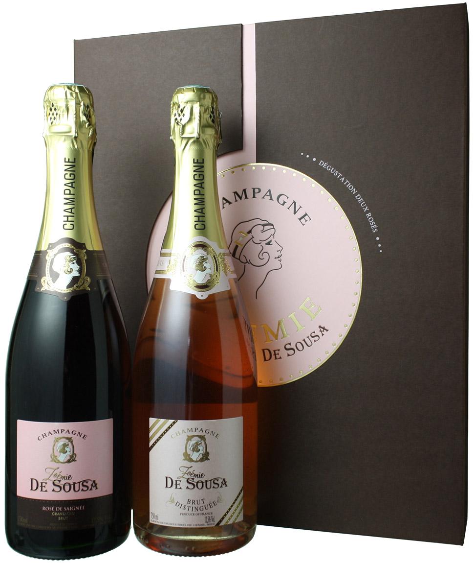 【送料無料】ゾエミ・ド・スーザ コフレ・ロゼ 専用ボックスつき ロゼ・ド・セニエ&ロゼ・ディスタンゲ2本入り NV <ロゼ> <ワイン/シャンパン>