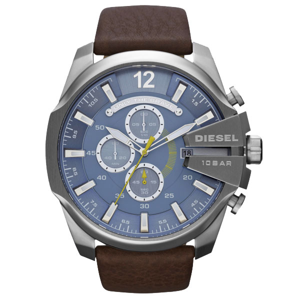 MEGA ウォッチ 時計 DZ4281 メンズ クロノグラフ 腕時計 CHIEF ブルー×ブラウン とけい 【あす楽対応】【ブランド】【プレゼント】【セール】 【送料無料】 ディーゼル DIESEL