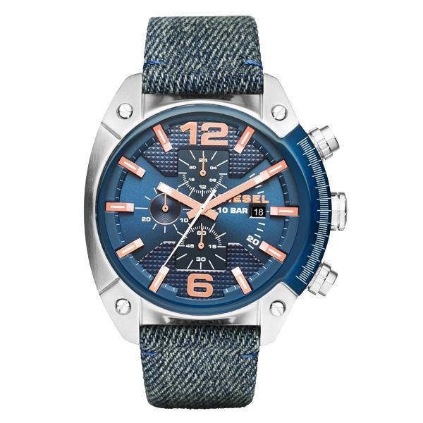 【送料無料】 ディーゼル 時計 DIESEL 腕時計 DZ4374 メンズ クロノグラフ ネイビー×デニムベルト OVERFLOW オーバーフロー とけい ウォッチ 【あす楽対応】【プレゼント】【セール】