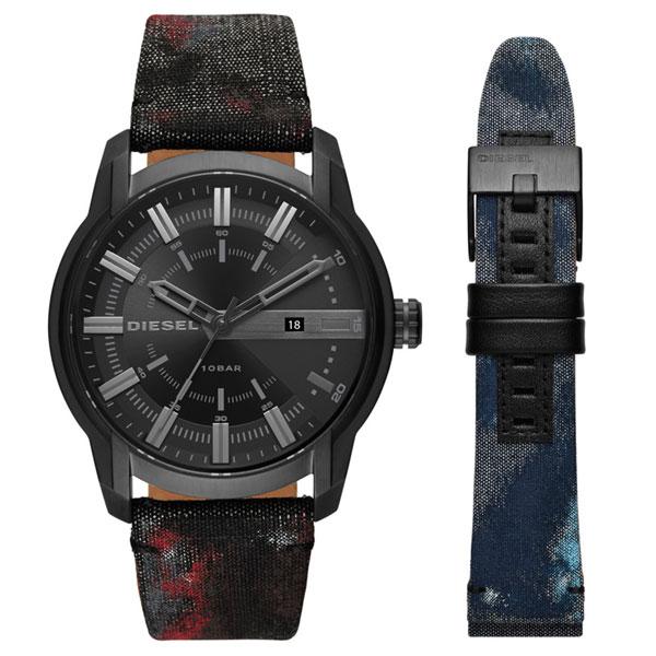 【送料無料】ディーゼル 時計 DIESEL 腕時計 DZ1851 メンズ ARMBAR アームバー 替えベルト付 デニム ブラック×レッド とけい ウォッチ 【あす楽対応】【プレゼント】【ブランド】【セール】