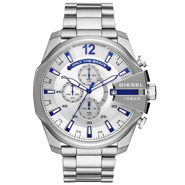 【送料無料】 ディーゼル 時計 DIESEL 腕時計 DZ4477 メンズ MEGA CHIEF メガチーフ クロノグラフ シルバー×ブルー とけい ウォッチ 【あす楽対応】【プレゼント】【ブランド】