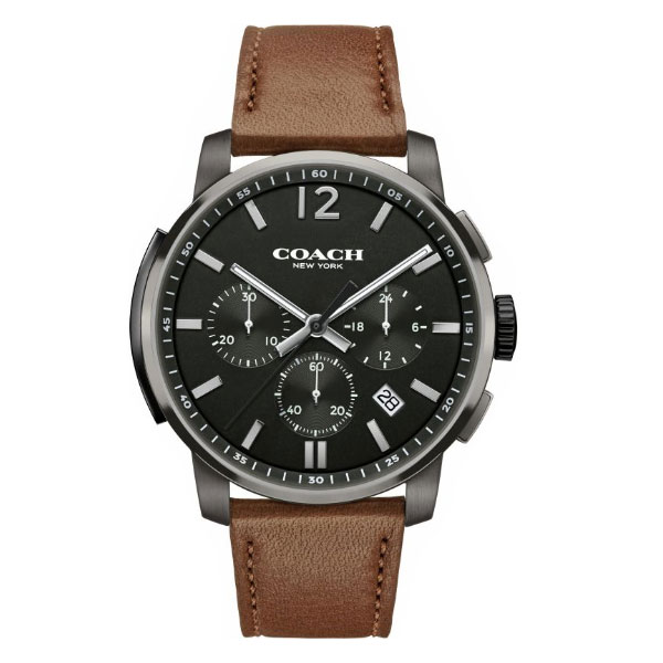 【送料無料】COACH コーチ メンズ 腕時計 時計 14602017 ブラック×ブラウンレザーベルト こーち とけい 【あす楽対応】【ブランド】【プレゼント】【セール】