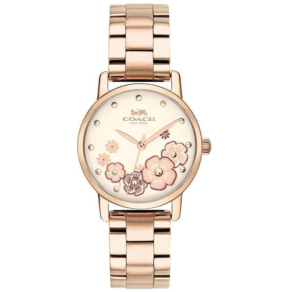 【送料無料】COACH コーチ レディース 腕時計 時計 14503057 GRAND グランド 花柄 フラワー アイボリー×ピンクゴールド こーち とけい 【あす楽対応】【プレゼント】【ブランド】【セール】