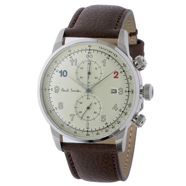【送料無料】ポールスミス 時計 Paul Smith 腕時計 P10141 ブロック メンズ クロノガラフ ウォッチ オフホワイト×ブラウン とけい【あす楽対応】【プレゼント】【セール】