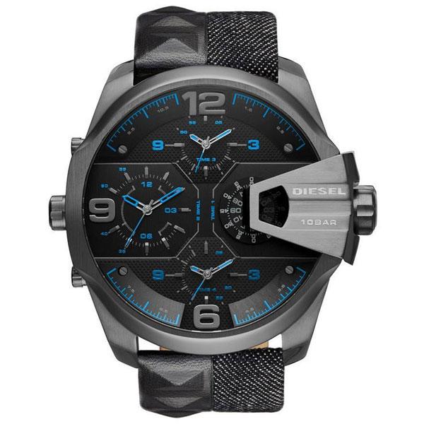 【送料無料】 ディーゼル 時計 DIESEL 腕時計 DZ7393 メンズ ブラック×ブルー×ガンメタル UBER CHIEF ウーバーチーフ 4 TIME ZONE とけい ウォッチ 【あす楽対応】【プレゼント】【ブランド】