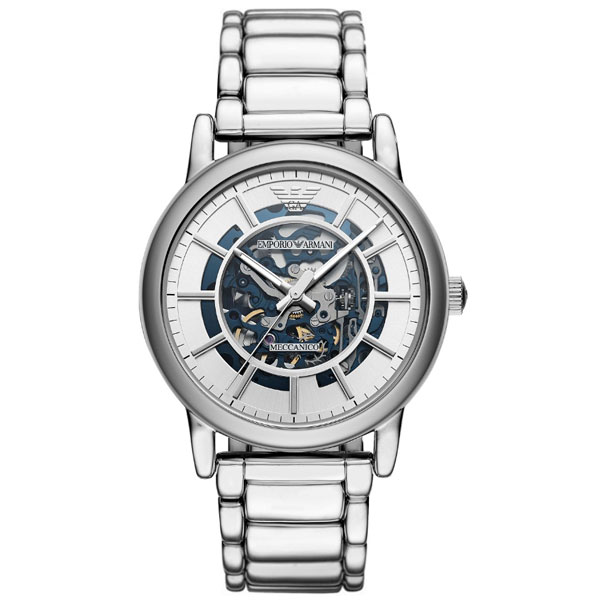 【送料無料】 EMPORIO ARMANI エンポリオアルマーニ メンズ 腕時計 自動巻き スケルトン AR60006 シルバー エンポリオ・アルマーニ エンポリ アルマーニ 時計 とけい 【あす楽対応】【プレゼント】【ブランド】