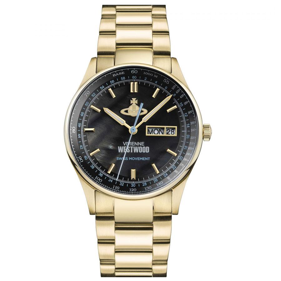 【送料無料】Vivienne Westwood ヴィヴィアン ウエストウッド メンズ 腕時計 時計 VV207BKGD THE CRANBOURNE クランボーン ブラック×イエローゴールド 【あす楽対応】【プレゼント】【ブランド】【ラッキーシール対応】