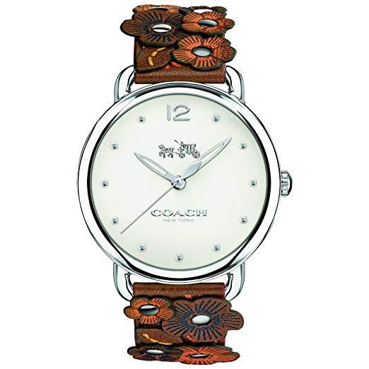 【送料無料】COACH コーチ レディース 腕時計 時計 14502744 DELANCEY デランシー シルバー×ブラウン 花柄 フラワー レザー 本革 革 こーち 【あす楽対応】【プレゼント】【ブランド】【セール】