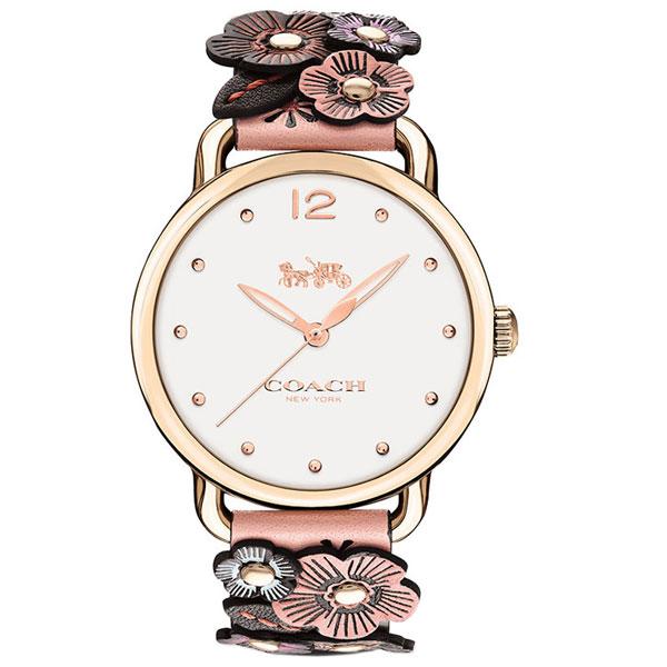 【送料無料】COACH コーチ レディース 腕時計 時計 14502822 DELANCEY デランシー ホワイト×ピンク 花柄 フラワー レザー 本革 革 こーち 【あす楽対応】【プレゼント】【ブランド】【ラッキーシール対応】【セール】