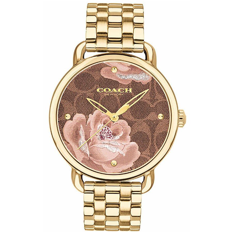 【送料無料】COACH コーチ レディース 腕時計 時計 14503164 DELANCEY デランシー 花柄 シグネチャー柄 フラワー ブラウン×イエローゴールド こーち 【あす楽対応】【プレゼント】【ブランド】【ラッキーシール対応】【セール】