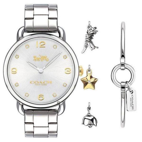 【送料無料】COACH コーチ レディース 腕時計 時計 ブレスレットセット バングル 14000056 Delancey デランシー チャーム付 シルバー×シルバー こーち とけい 【あす楽対応】【プレゼント】【ブランド】【ラッキーシール対応】