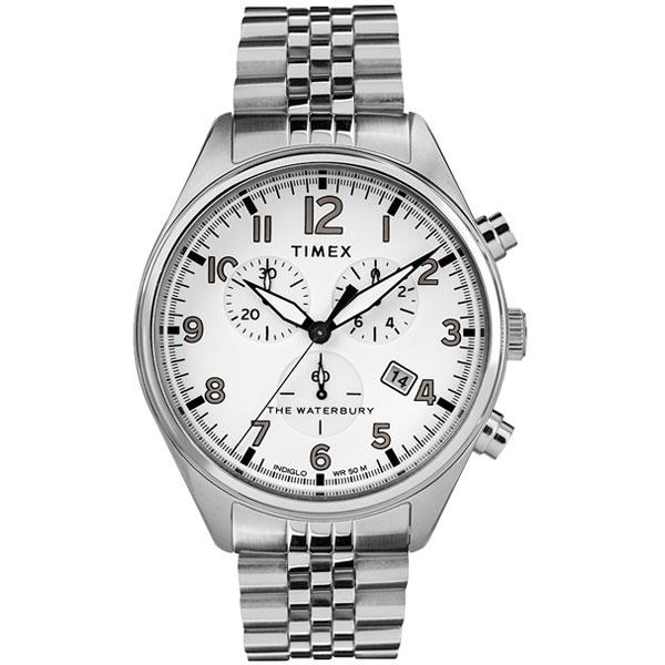 【送料無料】TIMEX タイメックス 腕時計 時計 メンズ TW2R88500 WATERBURY TRADITIONAL ウォーターベリー トラディショナル クロノグラフ ホワイト×シルバー とけい【あす楽対応】【ブランド】【プレゼント】【ラッキーシール対応】
