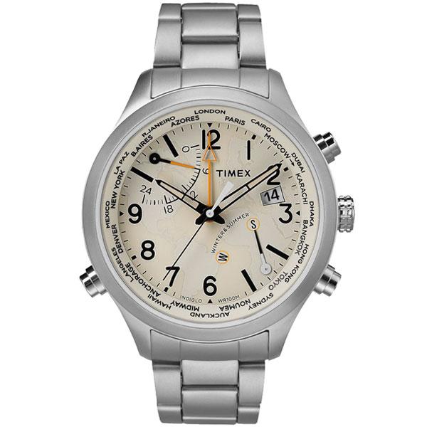 【送料無料】TIMEX タイメックス 腕時計 時計 メンズ TW2R43400 WATERBURY WORLD TIME ウォーターベリー ワールドタイム アイボリー×シルバー とけい【あす楽対応】【ブランド】【プレゼント】