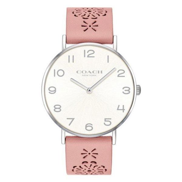 【送料無料】COACH コーチ レディース 腕時計 時計 14503257 Perry ペリー ホワイトシルバー×ピンク レザーベルト 革ベルト こーち とけい 【あす楽対応】【プレゼント】【ブランド】【ラッキーシール対応】