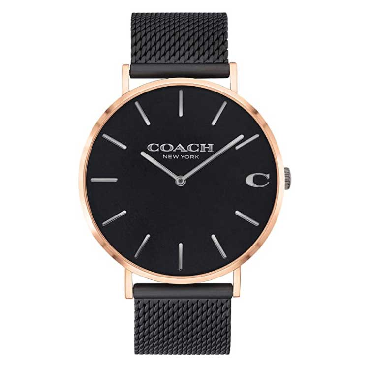 【送料無料】COACH コーチ メンズ 腕時計 時計 14602470 Charles チャールズ ブラック×ピンクゴールド×ブラック メッシュベルト こーち【あす楽対応】【ブランド】【プレゼント】【セール】