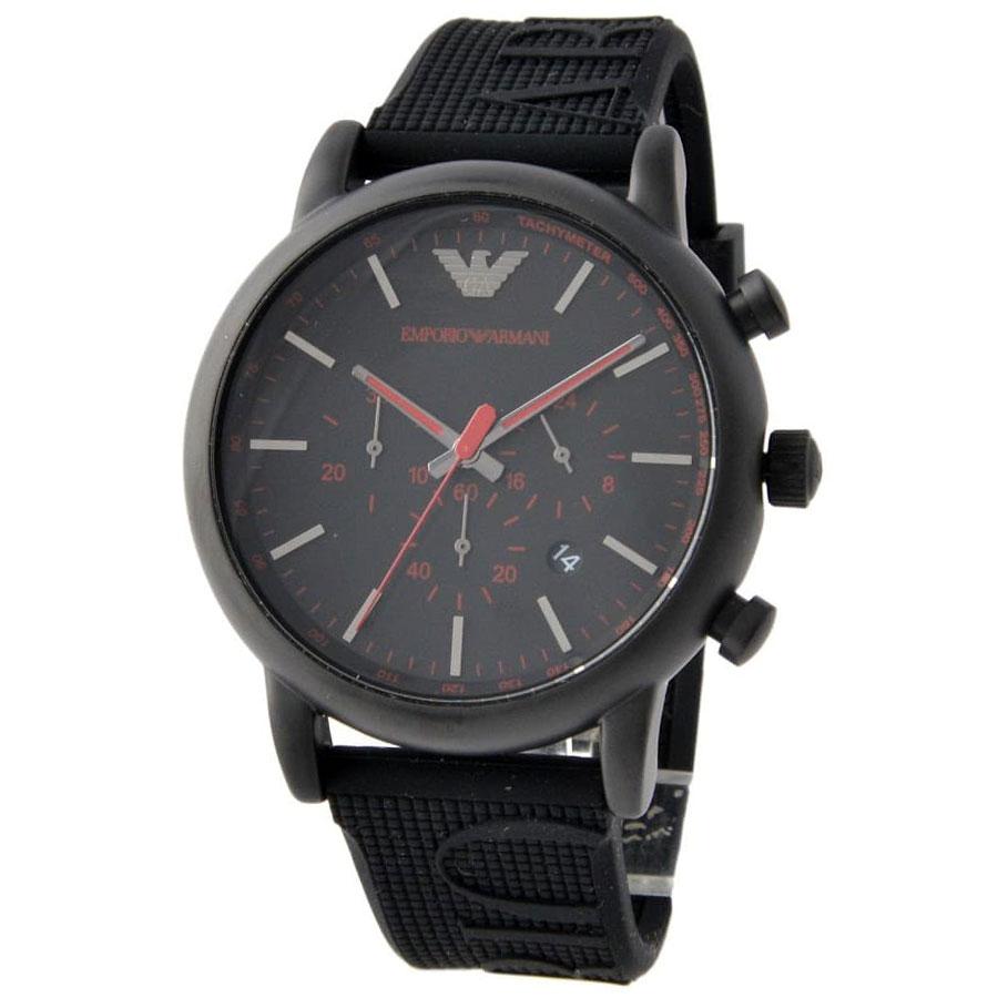 【送料無料】EMPORIO ARMANI エンポリオアルマーニ メンズ 腕時計 時計 AR11024 LUIGI ルイージ ブラック×レッド エンポリオ・アルマーニ エンポリ アルマーニ【あす楽対応】【プレゼント】【ブランド】