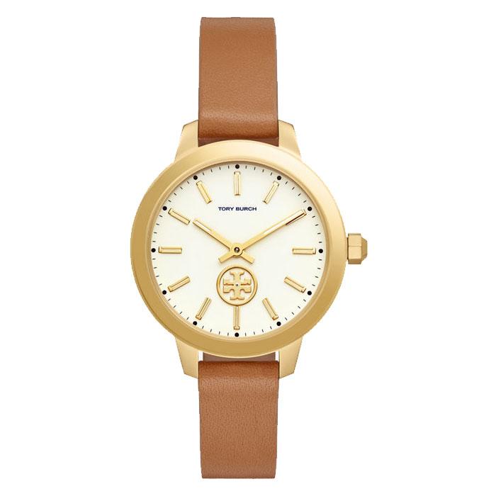 【送料無料】TORY BURCH トリーバーチ レディース 腕時計 時計 TBW1202 ホワイト×ゴールド×ブラウン レザーベルト ウォッチ とけい 【あす楽対応】【プレゼント】【ブランド】