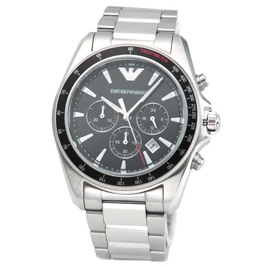 【送料無料】EMPORIO ARMANI エンポリオアルマーニ メンズ 腕時計 時計 AR6098 クロノグラフ ブラック×シルバー エンポリオ・アルマーニ エンポリ アルマーニ【あす楽対応】【プレゼント】【ブランド】
