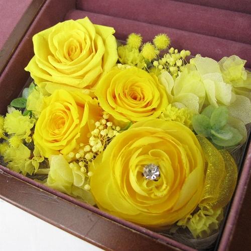 【国内送料無料・既存曲リストからお好きな曲を選べます】木製宝石箱OR061~プリザーブドフラワ-&アートフラワー付~イエロー ・30Nタイプ オルゴール【誕生日プレゼント/花/結婚祝い】