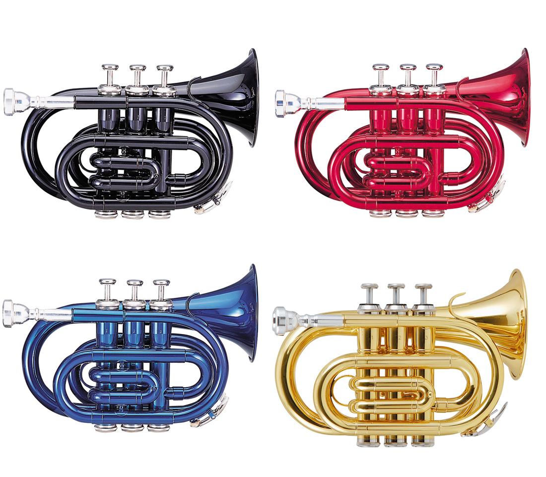 Kaerntner Pocket Trumpet KTR33P 入門セット付き (譜面台、教則DVD、教則本、ミュート、ラッカーポリッシュ) ケルントナー トランペット Metallic Red