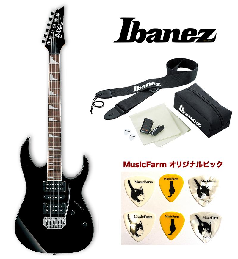 Ibanez GRG170DX BKN (Black Night) アイバニーズ エレキギター アクセサリーキット+オリジナルピックセット