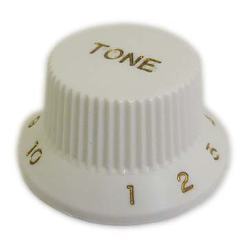 メール便 送料180円 輸入 対応可能 SCUD KW-240T ミリサイズ 年中無休 文字色:ゴールド トーンノブ カラー:ホワイト ギターパーツ スカッド