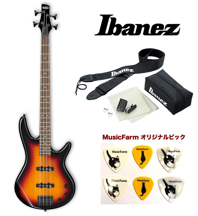 Ibanez GSR-320 TFB (Tri Fade Burst) アイバニーズ エレキベース アクセサリーキット+オリジナルピックセット
