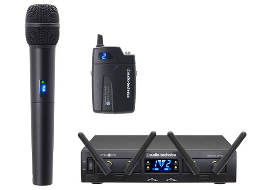 audio-technica ATW-1312 ラックマウント2chコンボワイヤレスシステム:ベルトパックとハンドヘルドが1台ずつの2ch