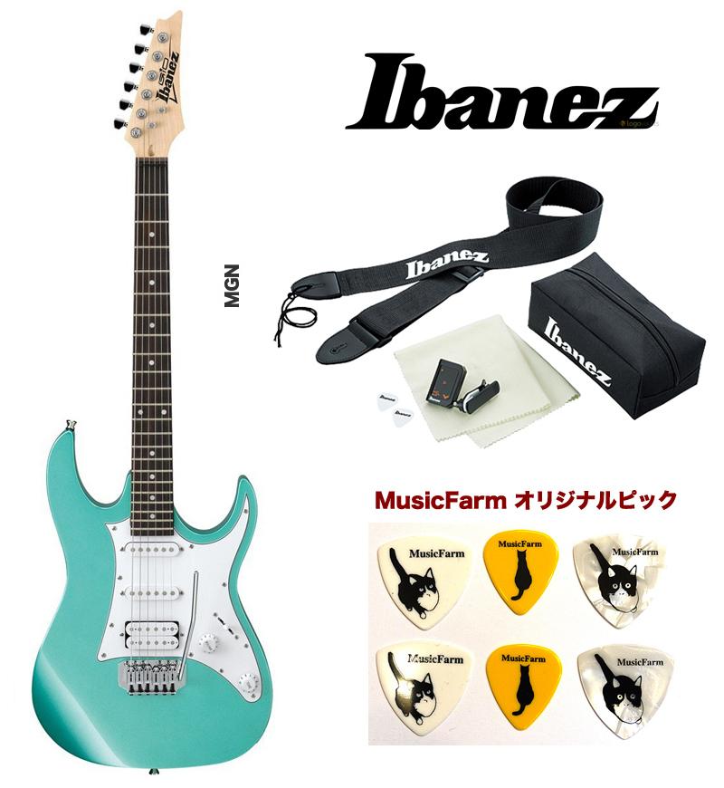 Ibanez GRX40 MGN (MetallicLightGreen) アイバニーズ エレキギター アクセサリーキット+オリジナルピックセット