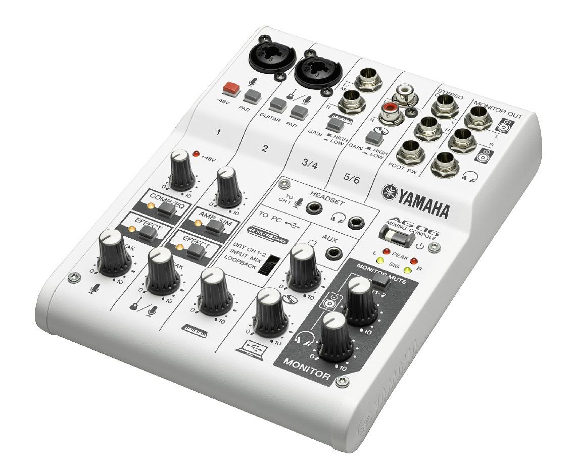 White 6チャンネルミキシングコンソール/USBオーディオインターフェイス AG06 YAMAHA