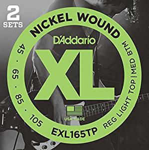 【メール便送料無料】時間指定はできません。 D'Addario ダダリオ ベース弦 ニッケル Long Scale .045-.105 EXL165TP 2setパック 【国内正規品】