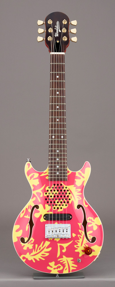 Woodstics Guitars WS-MINI ALOHA Pink & Yellow Aloha スピーカー内蔵ミニギター ソフトケース付