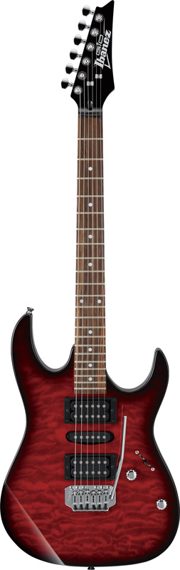Ibanez GIO GRX70QA-TRS (Transparent Red Burst) アイバニーズ エレキギター アクセサリーキット+オリジナル猫ピック3枚セット