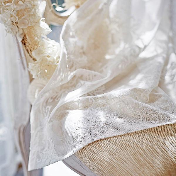 オーナメント柄レースカーテン(ナチュラルホワイト・幅150cm×丈220~238cm・2枚組) 姫系 かわいい 可愛い カワイイ 姫系家具 プリンセス 姫インテリア ロマンティック お姫様 おしゃれ 【オーダー・直送】