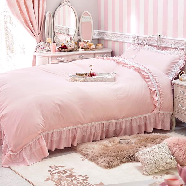 スイートローズレース掛け布団カバー(セミダブル・ピンク) 姫系 かわいい 可愛い カワイイ 姫系家具 プリンセス 姫インテリア ロマンティック お姫様 おしゃれ