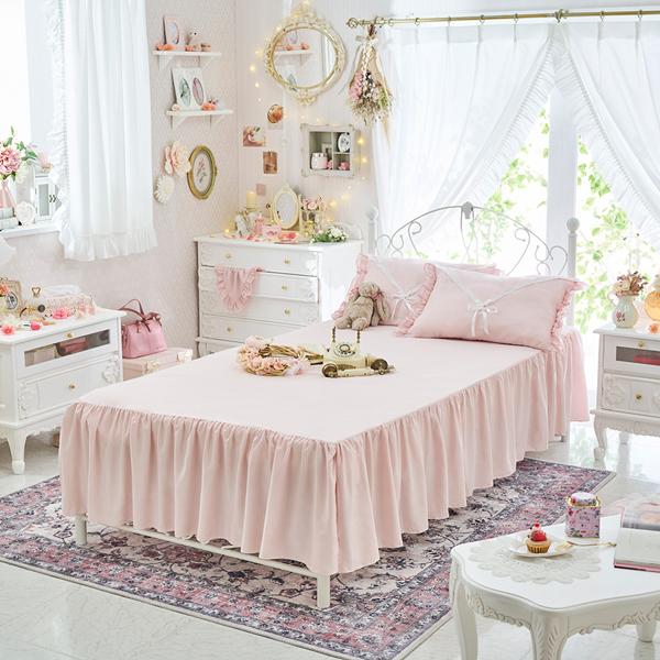 フリルたっぷりのスカート仕様でお気に入りのベッドをドレスアップ やわらかなピーチスキンのような微起毛素材を使用した ベッドスカート付きボックスシーツ シンプルベッドスカート シングル ピンク 姫系 かわいい プリンセス 激安セール ロマンティック 姫系家具 日時指定 おしゃれ 可愛い 姫インテリア カワイイ お姫様